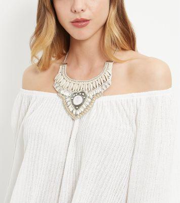 Cream Shell Bib Necklace