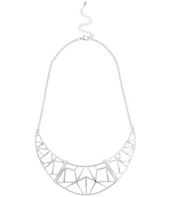 Silver Geo Cut Out Torque Necklace